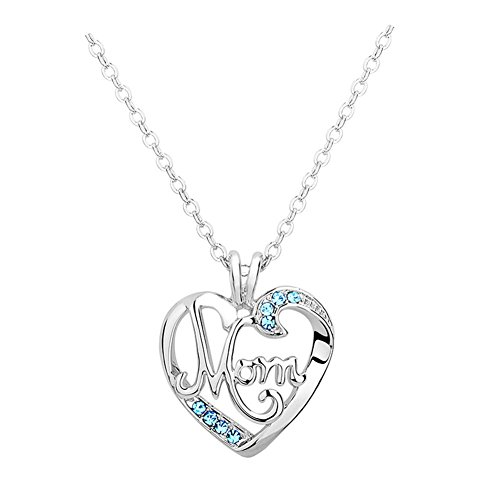 Bling Stars Mother's Day Gift Engraved MOM Aquamarine Crystal Heart Love Pendant Necklace