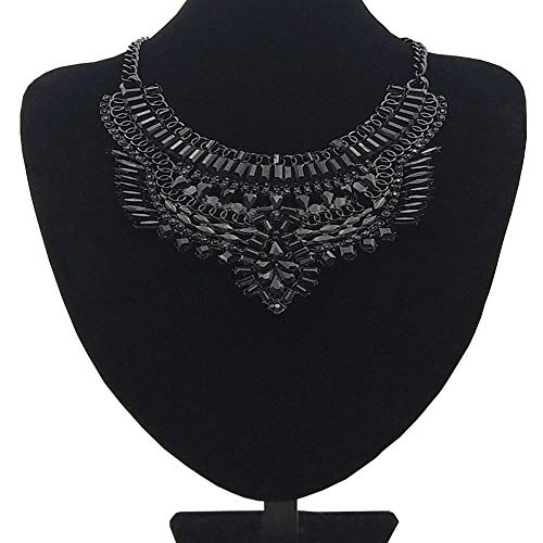 NABROJ Vintage Black Statement Bib Necklace Gypsy Ethnic Tribal Pendant with Black Crystal Pears Marquises Drag Queen Costume Jewelry for Women-HL32 All Black-1 ()