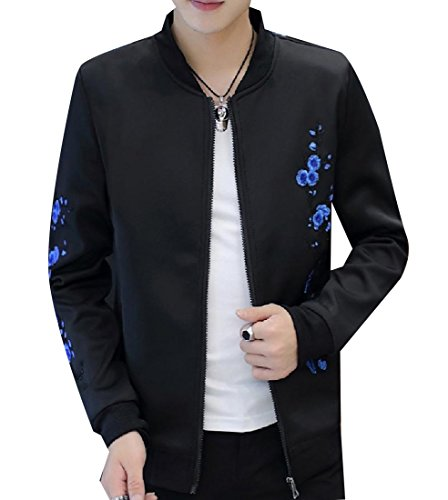Sheng Xi Mens Juniors' Long Sleeve Mandarin Collar Embroidered Wild Jackets Black ()