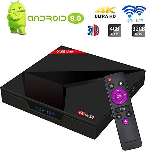 Android 9.0 TV Box SAMMIX X88 MAX+ RK3328 4GB+64GB Quad Cortex-A53 2.4G+5G WiFi /BT4.1/4K/3D Smart TV Box WiFi Media…