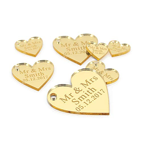(Viet JK Wedding Decorations - 50Pcs Personalized Engraved Acrylic Mirror Love Heart with Hole Gift Tags Wedding Party Table Confetti Decor Centerpieces Favors)
