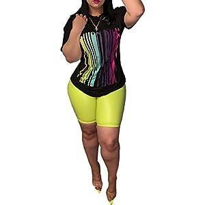ECHOINE Women's Casual 2 Piece Outfit Jumpsuits Short Sleeve Sweatshirt Short Pants Tracksuit