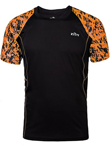 ZITY Alipolo Men's Sport Quick Dry Short Sleeves T-Shirts Printing Tee Orange XXL (Printing Quick)