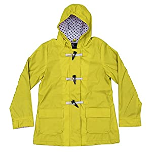 Apparel No. 5 Youth Girls Hooded Fully Lined Toggle Packable Rain Coat (Medium (8/10), Yellow)