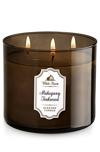- Bath & Body Works, White Barn 3-Wick Candle, Mahogany Teakwood
