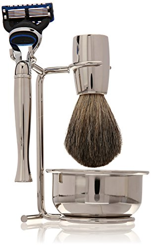 Swissco 5-Piece Shave Set,Nickel, Badger, Fusion Razor, Bowl & Soap, 23.5-Ounce Box by Swissco