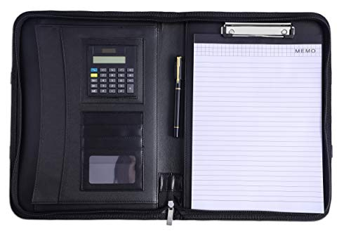 MEDOOSKY PU Leather Padfolio/Resume Portfolio/Portfolio Bag/Portfolio Folder with Handle and Zipper, iPad/Tablet Sleeve up to 13