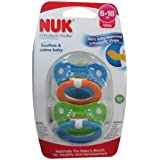 NUK Natural Shape Orthodontic Pacifiers, Latex, 6-18 Months Colors May Vary 2 ea