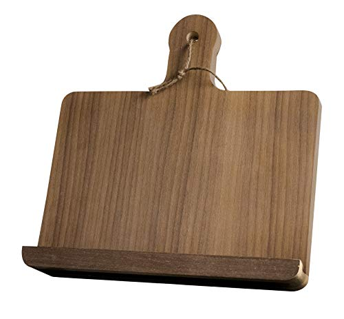 Walnut Wooden Cookbook Holder Horizontal Stand for Kitchen Recipes Tablets Rustic Style