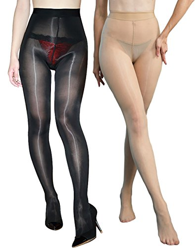 Black Tights Shimmer (2 Pairs 8D Shaping Socks Oil Socks Shiny Silk Stockings Pantyhose Dance Tights (Black and Nude))