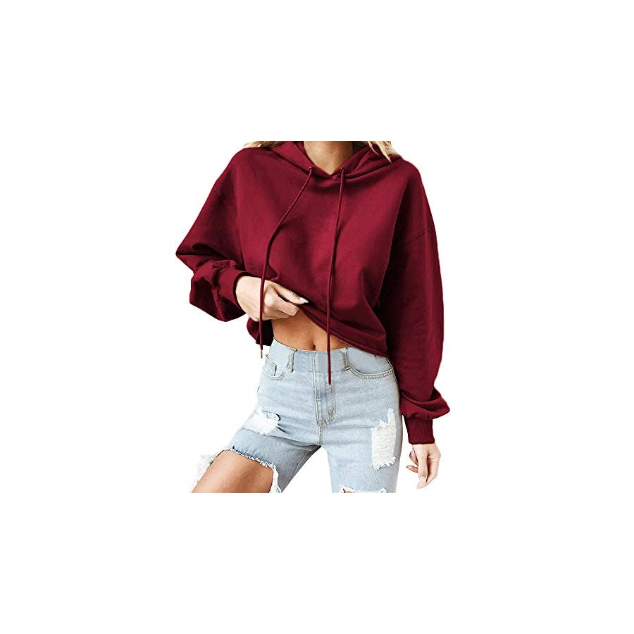 XOWRTE Sweatshirts for Women Casual Long Sleeve Autumn Winter Hooded Blouse Pullover Tops Round Neck Army Green Hoodie