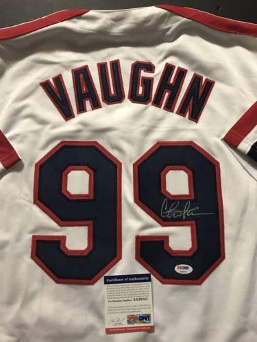 Autographed/Signed Charlie Sheen Ricky Vaughn Wild Thing Major League Baseball Jersey PSA/DNA COA]()