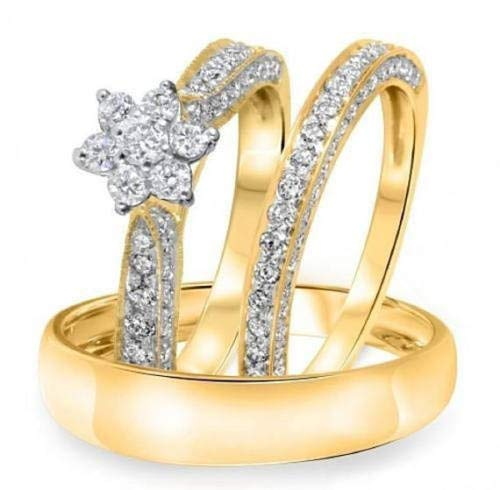 - 14k Yellow Gold Finish Simulated Diamond His & Her Engagement Wedding Cluster Flower Trio Ring Set for Women & Men