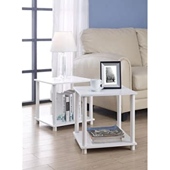 Amazon Com Parsons End Table With Drawer White Kitchen