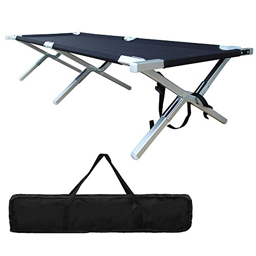 Outdoor Camping Cot Portable Folding Aluminum Military for Tent, Camp, Hunting and House-using with Zippered Storage Bag - Test 450 lbs Weight Capacity