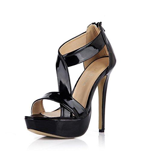 T strap Zipper Heels Platform Rubber 4U Women's 3CM Leather Shoes Peep Sandals Best 14CM Summer Sole High Patent toe T7YXAnnxwq