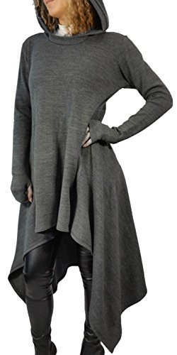 IF FEEL Loong Sleeves Casual Irregular Cowl Neckm BlouseTop For Women ((US 12-14)L, Gray)