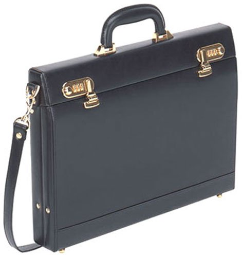 "Black Leather Slim Attache Case 2 1/2 "", Bags Central"
