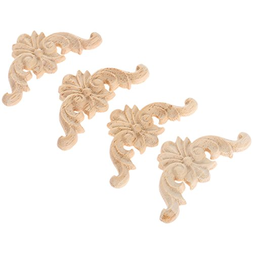 "4pcs 4x4cm/1.57""x1.57"" European Style Classic Wooden Carved Corner Onlay Applique Furniture Home Decor"