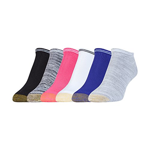 Gold Toe Women's Free Feed Stripe Soft Low Cut Socks (6 Pair Pack), White/Grey, Spectrum Blue, White/Black, Pink, Black/White, Black/White, Shoe Size: 6-9