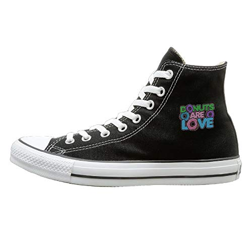 Shenigon Donuts Are LOVE Canvas Shoes High Top Casual Black Sneakers Unisex Style 44 ()