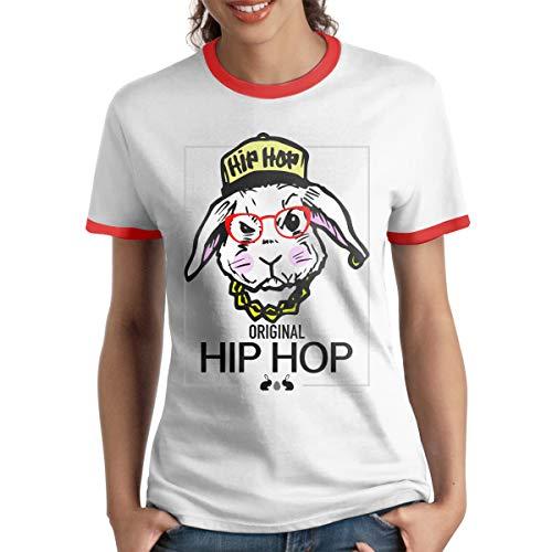 - HAIGUANGZ Designed T Shirt Original Hip Hop Easter Bunny Ringer T Shirt O-Neck for Womens Red XL