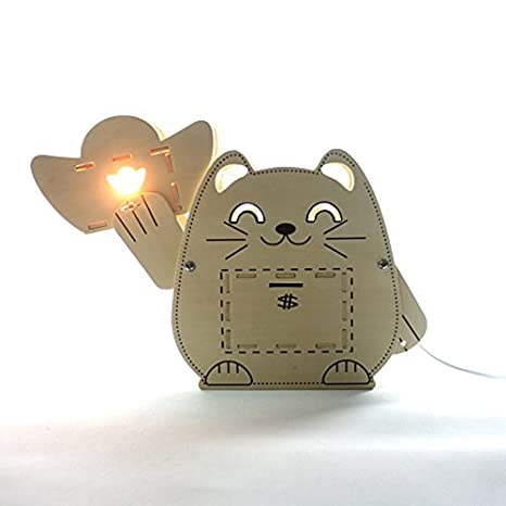 DIY ensamblado de madera Piggy Bank Lucky Cat lámpara de ...