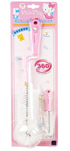 Sanrio Hello Kitty Baby Bottle - Sanrio Hello Kitty 360 Rotating Bottle Brush w/ Pacifier Brush Set (BPA Free)