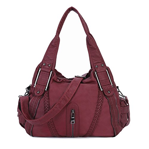Capacity Women PU Girls Grey for Leather Shoulder Washed Purse Bag Body Burgundy2 Soft Handbag Large Cross wfaIpBx7q