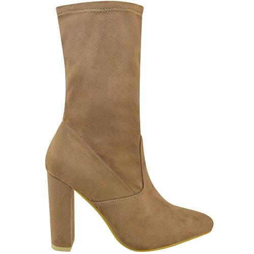 Mocha Party Heel Lycra High Evening Brown Thirsty Boots Ankle Stretch Faux Fashion Womens Size Suede ETPqX1wq0