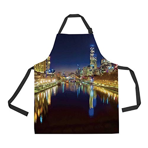 C COABALLA City Durable Print Apron,Looking Down The Yarra River on a Beautiful Night in Melbourne Water Reflection for Kitchen,28.33