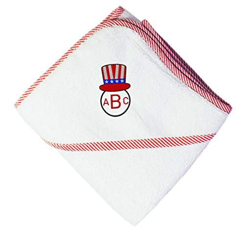 Custom Embroidered Monogram USA Patriotic Hat Round Frame Boys-Girls Cotton Baby Hooded Towel - Red, 3 Letters ()