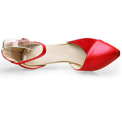 Heels Fashion Toe Sandals Buckle Red Platform LongFengMa Pointed High Ladies Shoes STwWq0