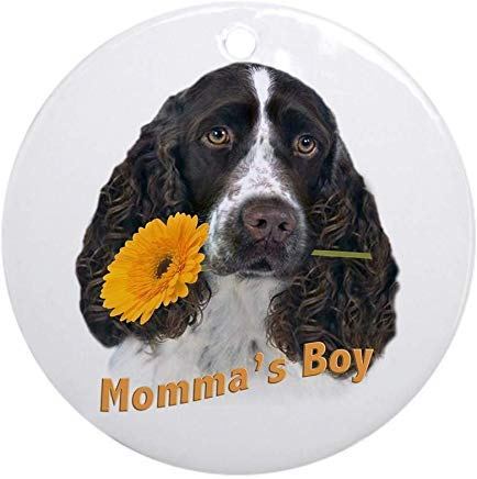 Voicpobo Springer Spaniel Momma's Boy Christmas Ornaments Round Novelty Ceramic Christmas Tree Decoration Ornament Gifts for Friends,for Family