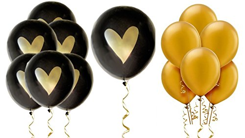 Black Gold Heart Balloons Love 12