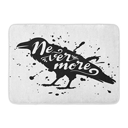 Emvency Doormats Bath Rugs Outdoor/Indoor Door Mat Halloween Silhouette of Sitting Raven Crow Bird Black on White Ink Splashes Lettering Text Animal Bathroom Decor Rug 16