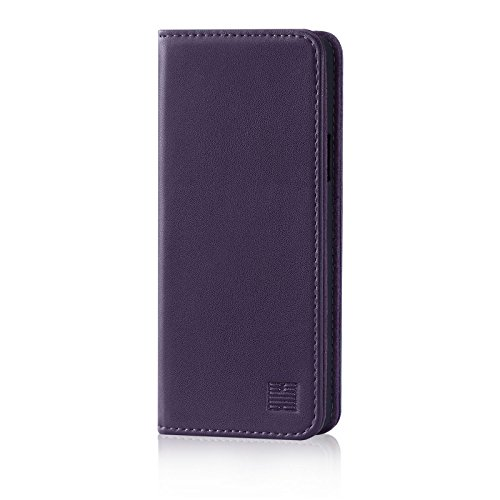 32nd Classic Series – Real Leather Book Wallet Case Cover For Samsung Galaxy S9 Plus, Real Leather Design With Card Slot, Magnetic Closure and Built In Stand – Aubergine