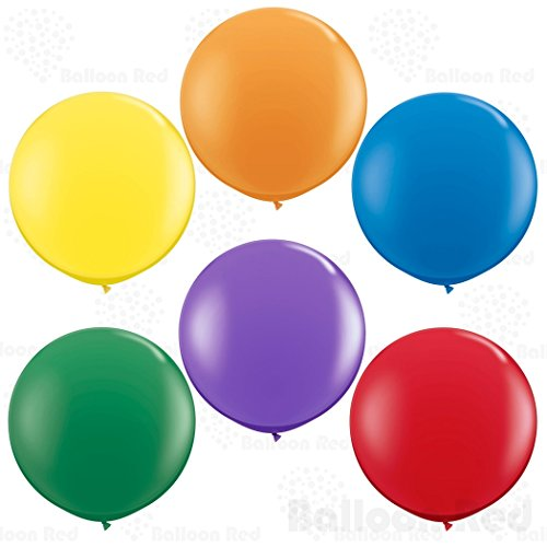 36 Inch Giant Jumbo Latex Balloons (Premium Helium Quality), Pack of 12, Round Shape - Vivid Rainbow