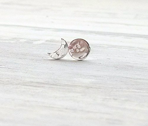 Tiny Sterling Silver Crescent and Full Moon Earrings