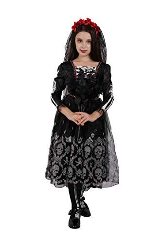 Zombies Disfraz Para Halloween (Girls Skeleton Costume Kids Halloween Zombie Bride Fancy Dress Cosplay-Skull(7-9)