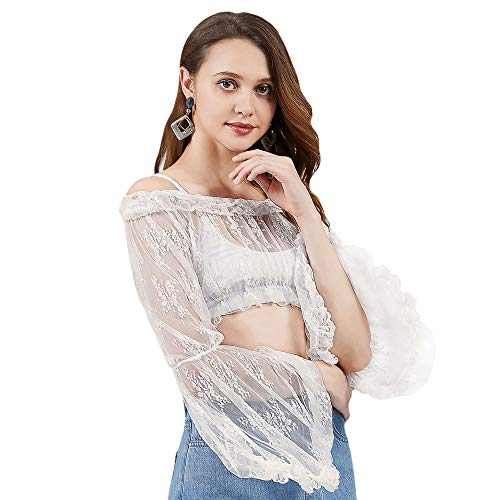 Cute Mesh Lace Crop Top 2019 New 90s Long Sleeve Swimsuit Cover Up for Women (Small) White