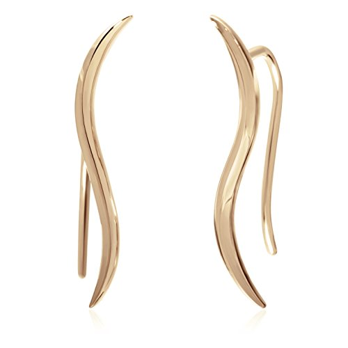 S.Leaf Solid Sterling Silver Ear Crawler Cuff Earrings Minimal Modern Delicate Leaf Ear Climber Earrings (gold) (Gold Leaf Solid)