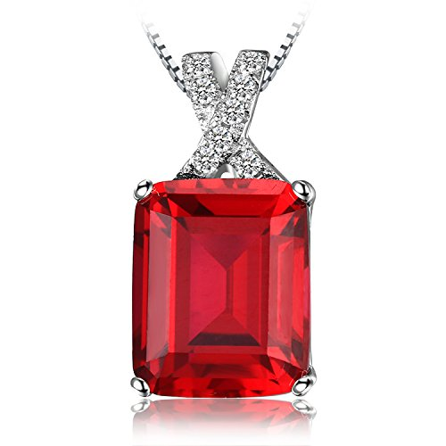 JewelryPalace Emerald Cut 6.1ct Created Red Ruby Pendant Necklace 925 Sterling Silver 18 Inches (Emerald Ruby Pendant)