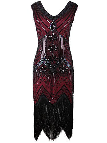 Vijiv Women 1920s Gastby Sequin Art Nouveau Embellished Fringed Cocktail Dresses,Wine Red,Large