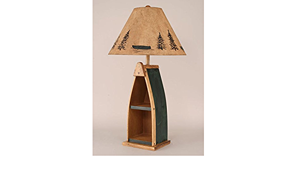Wooden Boat Table Lamp 33in With Stained W Green Accent Finish Home Improvement