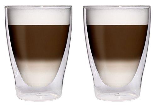 AKTION: 2x 280ml XL doppelwandige Latte Macchiato-Gläser / Cocktailgläser / Eistee-Gläser / Saft- und Wassergläser - 2x 280ml edle Thermogläser mit Schwebeeffekt von Feelino, 2x 280ml