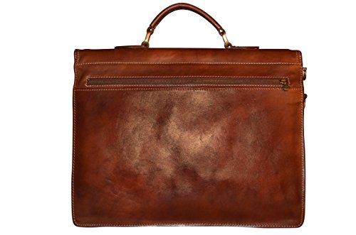 Cartable 3 soufflets en Cuir Véritable italien pour Homme Business, Sac porté main Marron, Sac porté épaule pour Laptop 15 pouces