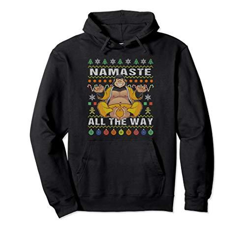 Gorilla Namaste Ugly Christmas Hoodie Namaste All The Way