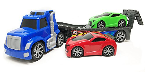 g Rig Truck Hauler Trailer with 2 Race Cars - Great Toy Carrier and Truck Carrier Toy for Boys, Girls, Who Like Vehicle Sets ! ()