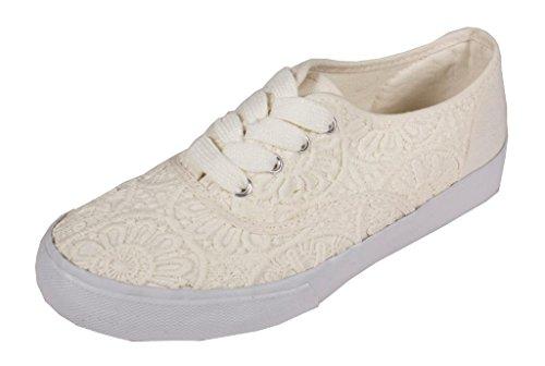 Lezer! Womens Geborduurde Fashion Sneakers In Off White Katoen